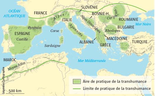 Carte transhumances mediterranee