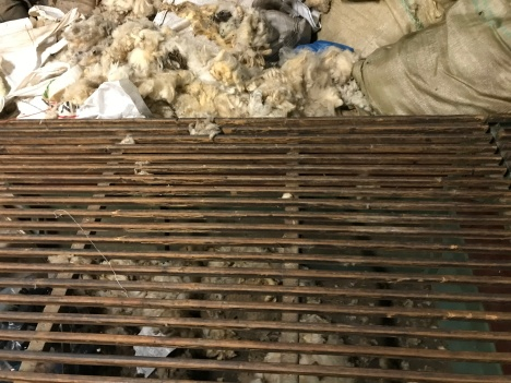 dirt from wool drops through grates